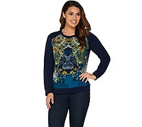 Susan Graver Weekend French Terry Top with Printed Front - A282111