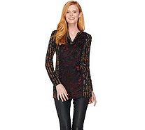 Susan Graver Printed Liquid Knit Long Sleeve Tunic - A282911