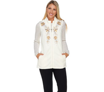 Quacker Factory Poinsettia Embroidered Zip Front Fleece Vest - A283311