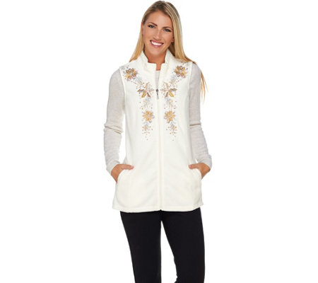 Quacker Factory Poinsettia Embroidered Zip Front Fleece Vest