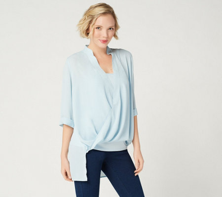 """As Is"" Lisa Rinna Collection Twist Front Top w/Camisole"
