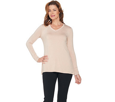 H by Halston Essentials V-Neck Long Sleeve Knit Top - A286211