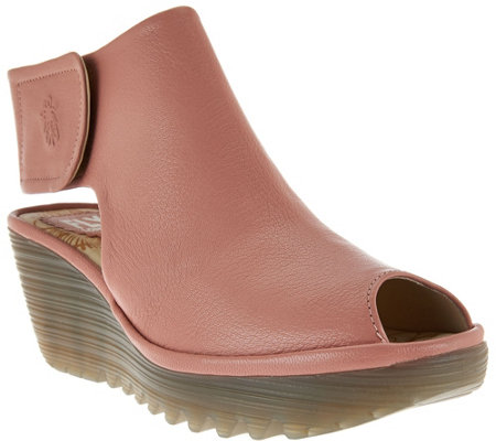 """As Is"" FLY London Peep-Toe Leather Wedge Sandals - Yone"