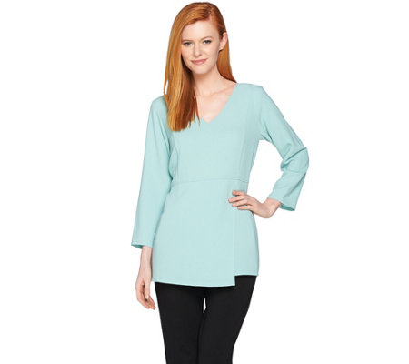 Linea by Louis Dell'Olio Gauze Crepe Tunic with Asymmetric Hem