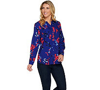 Denim & Co. Floral Print Y-Neck Button Front Woven Shirt - A288311