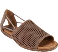 Earth Nubuck Leather Perforated Sandals - Shelly
