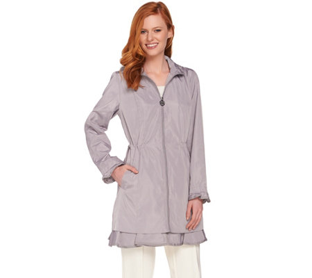 Dennis Basso Water Resistant Jacket with Zip Off Hood & Ruffle Hem