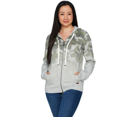 Peace Love World Ombre Print Zip Front Fleece Hoodie