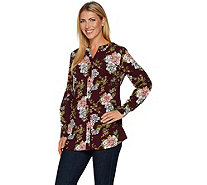 Denim & Co. Regular Floral Printed Button Front Blouse - A296211
