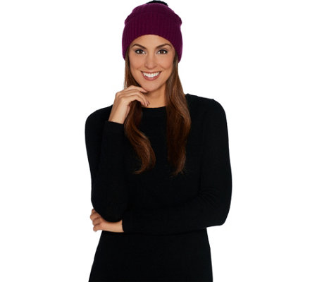 Isaac Mizrahi Live! 2-Ply Cashmere Cable Hat with Faux Fur Pom Pom