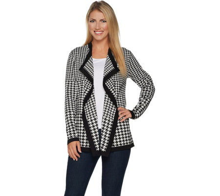 Dennis Basso Drape Front Houndstooth Cardigan
