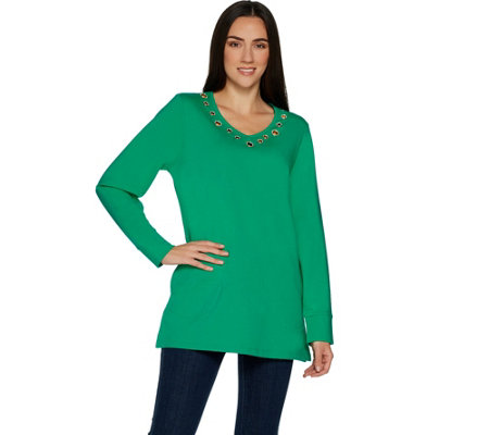 Quacker Factory Grommet Long Sleeve Tunic Top