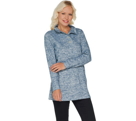 Denim & Co. Regular Space Dye Heavenly Jersey Henley Tunic