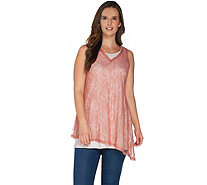LOGO Layers by Lori Goldstein V-Neck Lace Tank Top with Angled Hemline - A302411