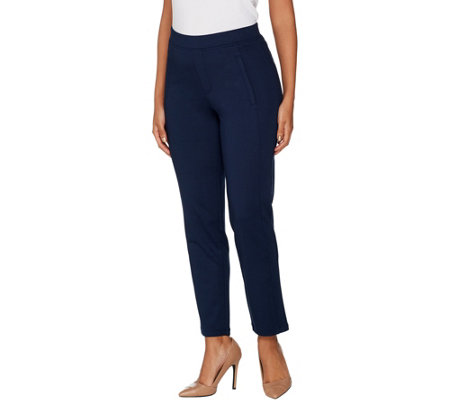 H by Halston Regular Slim Leg Knit Twill Pull-On Ankle Pants