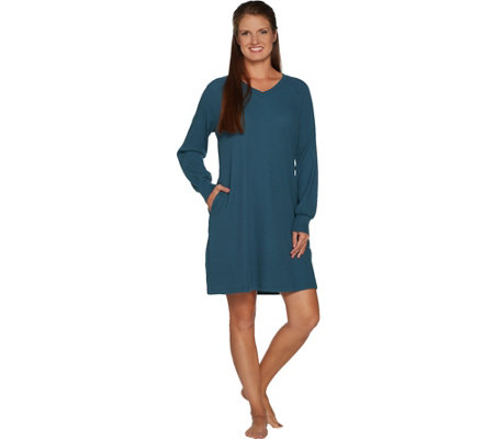 """As Is"" AnyBody Loungewear Cozy Knit Waffle V-Neck Dress"