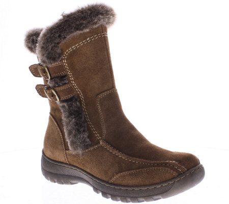 Spring Step Suede and Faux Fur Boots - Achieve
