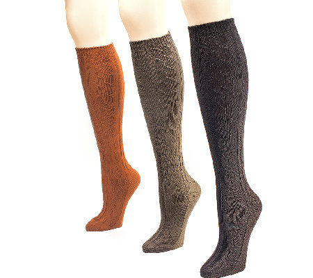 MUK LUKS Women's 3-Pair Microfiber Knee-High Socks