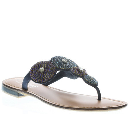 Azura by Spring Step Leather Slide Thong Sandals - Filipa