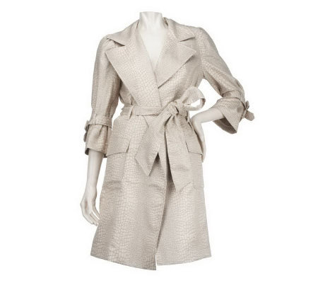 M by Marc Bouwer Animal Print Trench Coat with Tie Belt