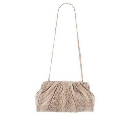Hobo Pleated Leather Angela 2 in 1 Clutch & Shoulder Bag