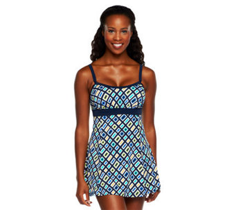 Fit 4 U Thighs Jolt Banded Empire Swim Dress - A231112