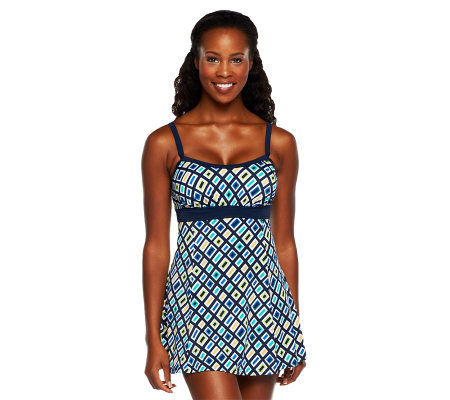 Fit 4 U Thighs Jolt Banded Empire Swim Dress