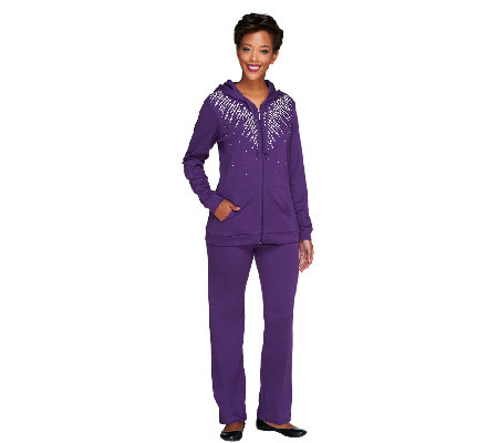 Quacker Factory Simulated Pearl Zip Front Jacket and Pants Set