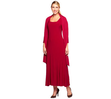 Attitudes by Renee Square Neck Maxi Dress with Shawl
