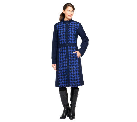 Isaac Mizrahi Live! Fully Lined Houndstooth Coat