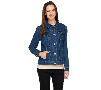 Liz Claiborne New York Denim Button Front Jean Jacket - A240512