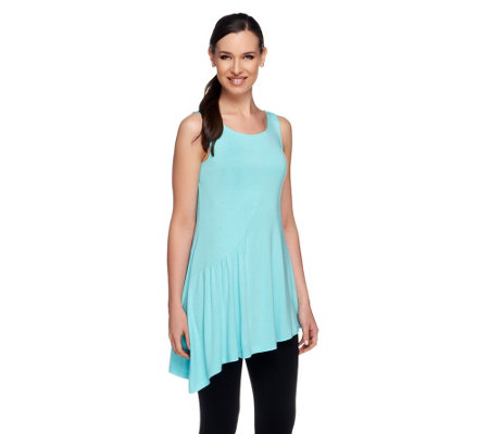 LOGO by Lori Goldstein Knit Scoop Neck Tank with Angled Hem