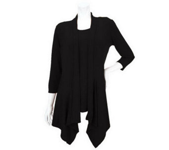 """As Is"" Susan Graver Liquid Knit Cascading Front Cardigan w/ Tank - A254512"