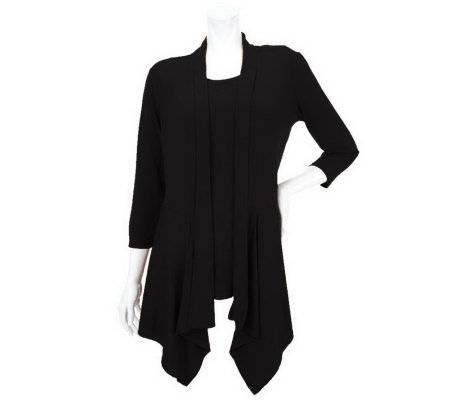 """As Is"" Susan Graver Liquid Knit Cascading Front Cardigan w/ Tank"