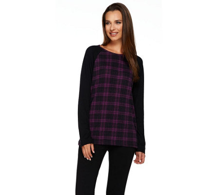 Denim & Co. Heavenly Jersey Plaid Knit Top with Raglan Sleeves