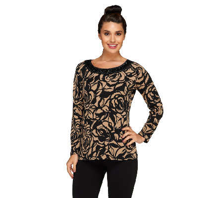 Susan Graver Printed Liquid Knit Top w/ Embellished Scoop Neck