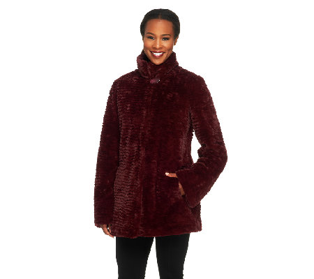 Dennis Basso Textured Faux Fur Coat