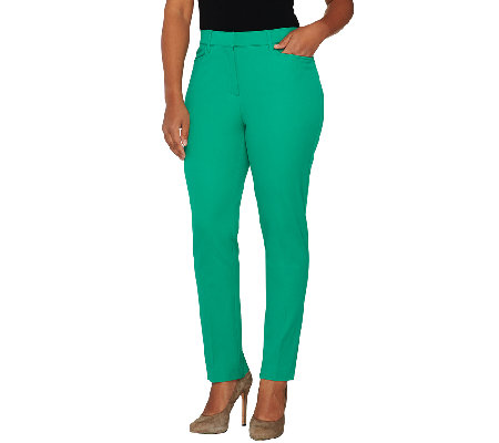 Isaac Mizrahi Live! 24/7 Stretch Fly Front Ankle Pants