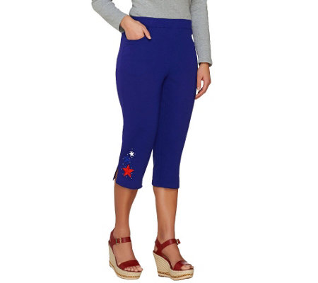 Quacker Factory Lady Liberty French Terry Capri Pants