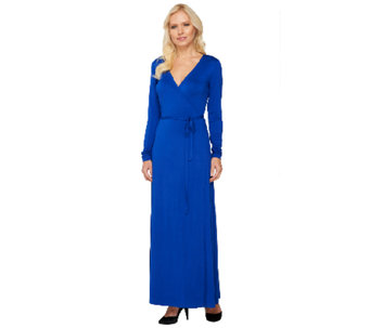 Lisa Rinna Collection Petite Long Sleeve Wrap Maxi Dress - A262912