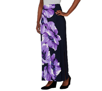 Susan Graver Liquid Knit Placement Print Maxi Skirt - A263012