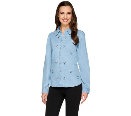Joan Rivers 25th Anniversary Embellished Denim Shirt