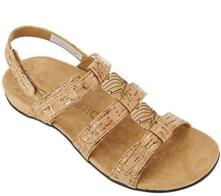 Vionic Orthotic Triple Strap Sandals - Amber