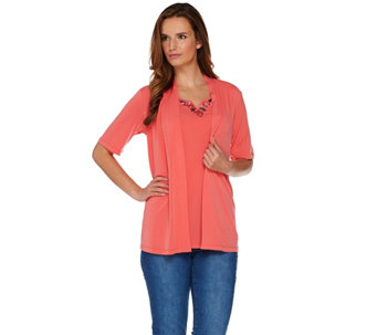 Susan Graver Artisan Liquid Knit Short Sleeve Cardigan with Tank - A265012