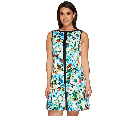 SA by Seth Aaron Printed Scuba Dress with Seaming Details