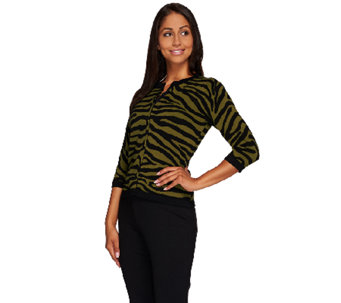 Linea by Louis Dell'Olio Zebra Printed Cardigan - A265612
