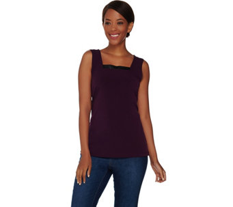 Susan Graver Liquid Knit Square Neck Tank with Faux Leather Trim - A268412