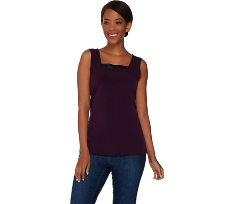 Susan Graver Liquid Knit Square Neck Tank with Faux Leather Trim