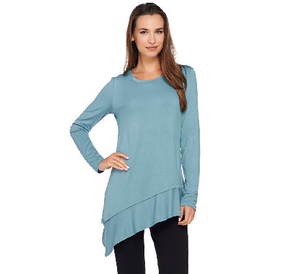 LOGO by Lori Goldstein Knit Top with Asymmetric Tiered Hem