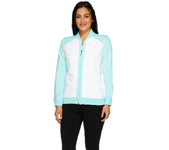 """As Is"" Susan Graver Weekend French Terry Colorblock Bomber Jacket - A271612"